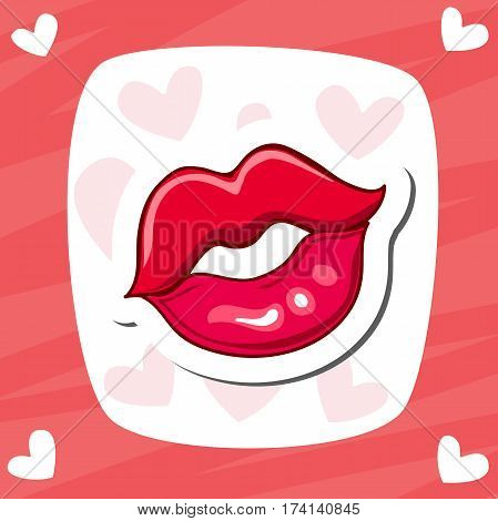 Lips kiss. Vector patch, sticker. Cool sexy red kissed. Selphie cartoon Sign for print, in comics, Fashion. Vector illustration. Romantic greeting cards.