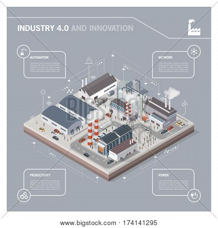 Isometric contemporary industrial park with factories power plant workers and transport: industry 4.0 infographic