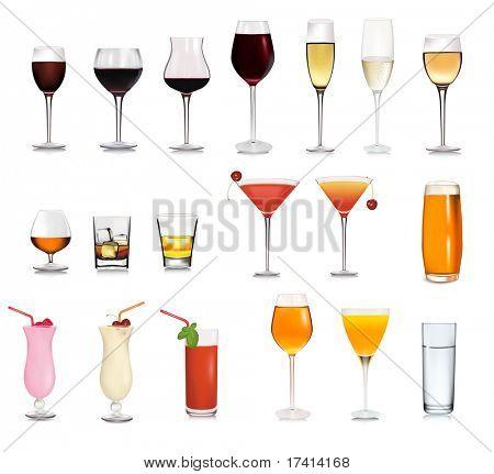 Conjunto de diferentes bebidas y cócteles. Ilustración del vector.