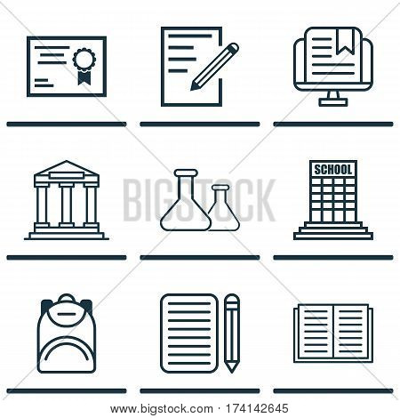 Set Of 9 Education Icons. Includes Opened Book, Haversack, Paper And Other Symbols. Beautiful Design Elements.