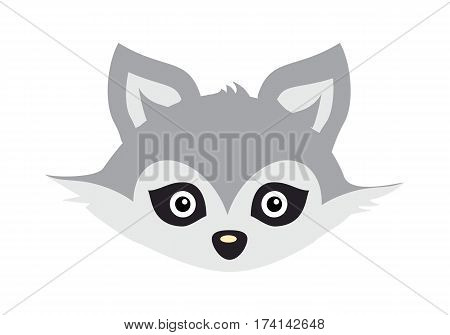 Wolf animal carnival mask vector illustration in flat style. Wild forest dog face. Funny childish masquerade mask isolated on white. New Year masque for festivals, holiday dress code for kids