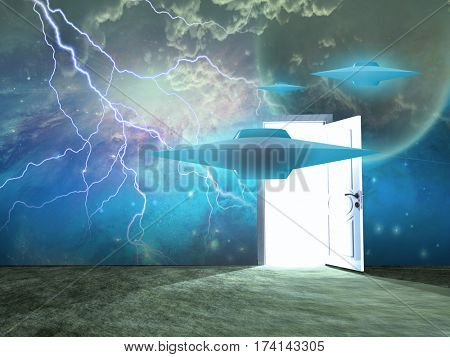 Flying saucers, opened door.  Some elements provided courtesy of NASA