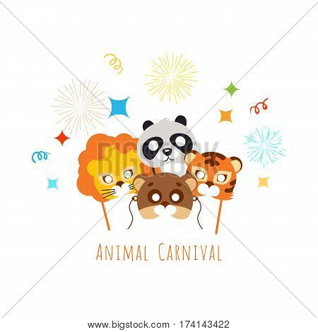 Funny childish animal masks for carnival in flat style. Masks of exotic animals lion and tiger with panda bear. Vector illustration of masques for festivals and children holidays. Dress code for kids