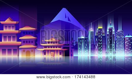 Vector illustration background city night neon style architecture buildings monuments town country travel printed materials, cover, Japan, monuments, Tokyo, Japanese culture, landscape, mountain