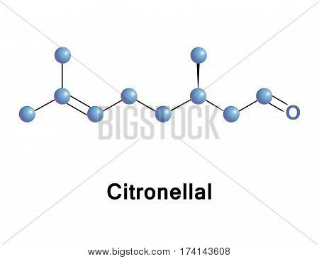 Citronellal or rhodinal or dimethyloctenal is a monoterpenoid, the main component in the mixture of terpenoid chemical compounds that give citronella oil its distinctive lemon scent.
