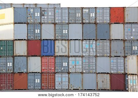 Stacked Cargo Intermodal Containers Ready For Shipping
