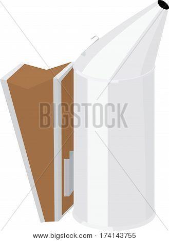 Illustration of cartoon bee smoker, isolated on white