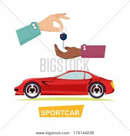 Sportcar isolated red automobile and hand passing key. Process of buying or renting sports car. Vector illustration of giving key and auto on white in flat style. Sale agreements in cartoon design