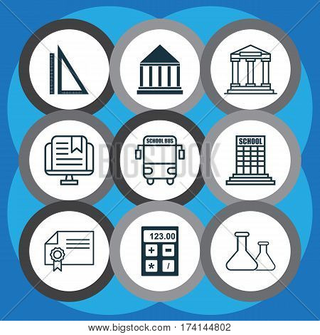 Set Of 9 Education Icons. Includes Electronic Tool, Diploma, Measurement And Other Symbols. Beautiful Design Elements.