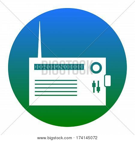 Radio sign illustration. Vector. White icon in bluish circle on white background. Isolated.