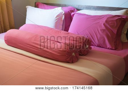 Pink king size bed in new apartment
