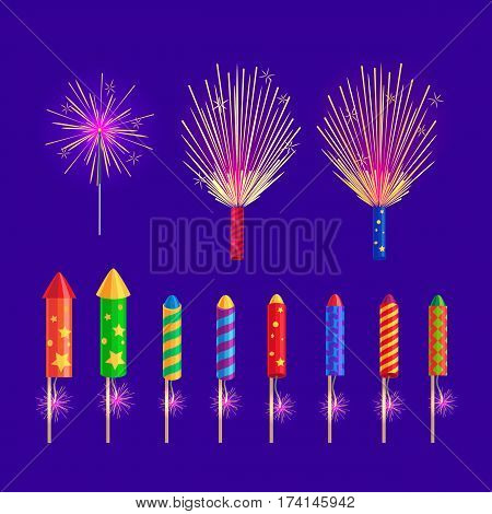 Colourful firework rockets on blue background. Vector sparkling rockets, salute elements in cartoon flat design. Collection of fireworks and New Year pyrotechnic attributes, christmas decorations