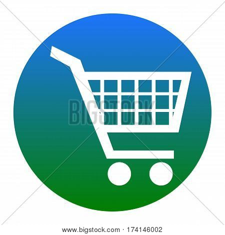 Shopping cart sign. Vector. White icon in bluish circle on white background. Isolated.
