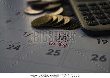 calendar of tax day on 18 april 2017deadline note tax day wording on calendar.