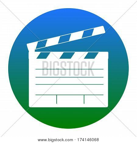 Film clap board cinema sign. Vector. White icon in bluish circle on white background. Isolated.