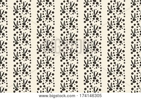 Easter Bunny pattern. Vector illustration. Fashion, textile. Rabbit Print. Spring Holiday background. Black Rabbit ears Abstract White background. Vintage