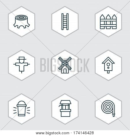 Set Of 9 Gardening Icons. Includes Bugbear, Birdhouse, Tree Stub And Other Symbols. Beautiful Design Elements.