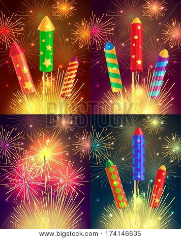 Colourful exploding rockets set on bright background. Salutes banners with bengal fires, petards explosions in cartoon style flat design. Collection of fireworks and New Year decoration attributes.