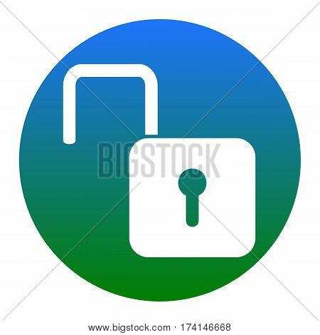 Unlock sign illustration. Vector. White icon in bluish circle on white background. Isolated.