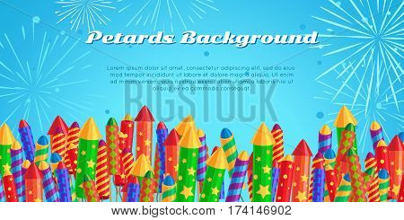 Petards background with salute elements of fireworks festival. Set of different kinds of amazing fireworks. Vector banner in flat style for celebration of any occasions with pyrotechnic devices.