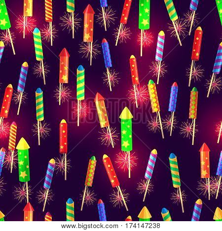 Seamless pattern of bright glossy exploding rockets endless texture on violet. Illustration of New Year decorations with colourful fireworks in cartoon style. Vector wrapping paper wallpaper design.