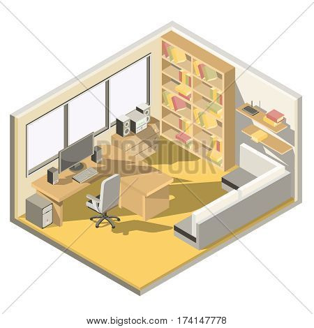Vector isometric illustration design of a home office room with a sofa, desk, bookshelf, clocks, chair, books, computer.