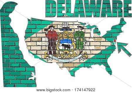 Delaware flag on a brick wall with effect - 3D Illustration,
