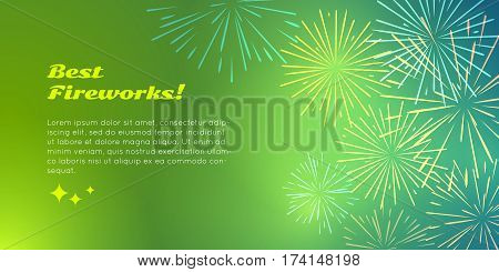 Best fireworks advertisement banner pyrotechnic shop ad. Happy holidays with salute elements for fireworks festival. Vector illustration banner in flat for birthday or valentine s day celebration