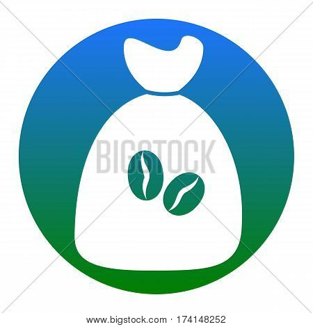 Coffee bag Icon. Coffee bag Vector. Coffee bag Icon Button. Vector. White icon in bluish circle on white background. Isolated.