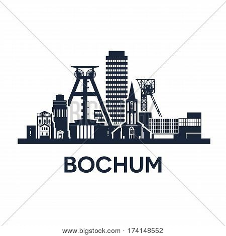 Abstract skyline of city Bochum in Germany, vector illustration