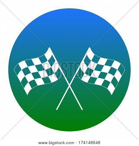 Crossed checkered flags logo waving in the wind conceptual of motor sport. Vector. White icon in bluish circle on white background. Isolated.