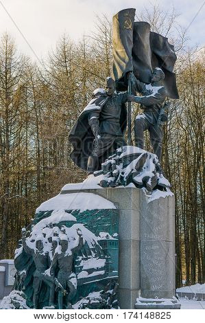 Moscow, Russia - January 22, 2017: Monument in the struggle against fascism we were together in the park Victory in Moscow
