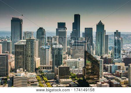 Seattle Skyline Seen From Space Needle, Washington State, Usa