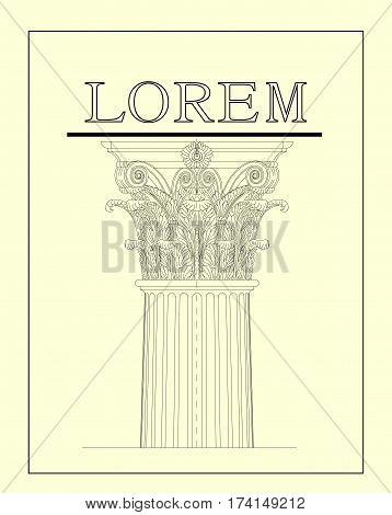 Vector logo for your design. Classic architectural feature. Corinthian order. Column. Pedestal