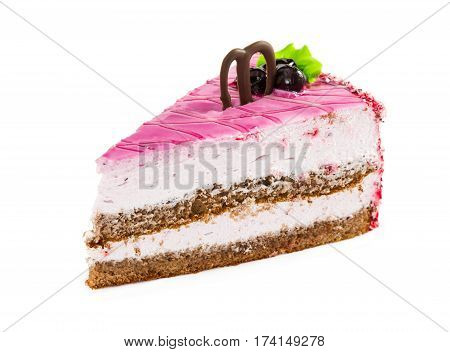 Slice Of Delicious Layered Cake With Pink Glazed, Chocolate And Black Currant