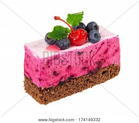 Piece Of Blueberry Cake With Delicate Souffle