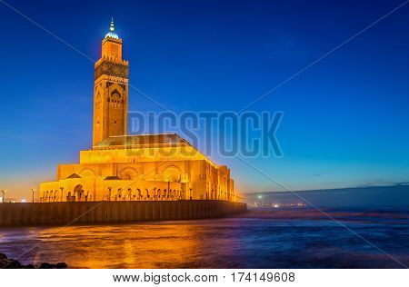 The Hassan II Mosque, the largest mosque in Morocco and the 13th largest in the world - Casablanca.