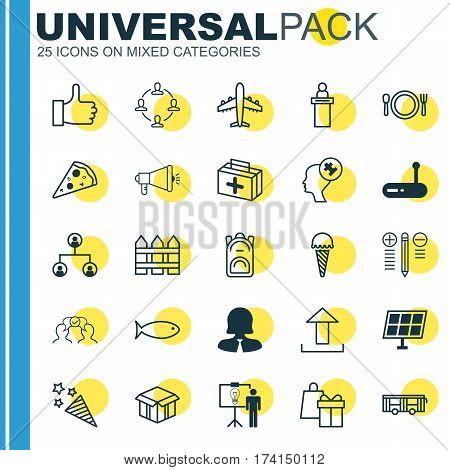 Set Of 25 Universal Editable Icons. Can Be Used For Web, Mobile And App Design. Includes Elements Such As Router, Registration Service, Tree Structure And More.