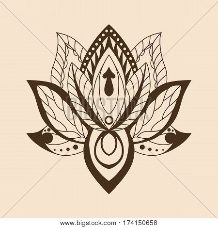 Lotus Mandala. Vector ornamental Lotus ethnic zentang. Ornamental Boho Style lotus Flower. Indian Lotus. Lotus Mehndi. Vector illustration. Yoga India arabic om