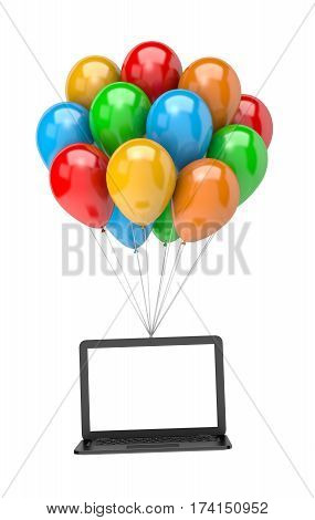 Bunch Of Balloons Holding Up A Laptop Computer