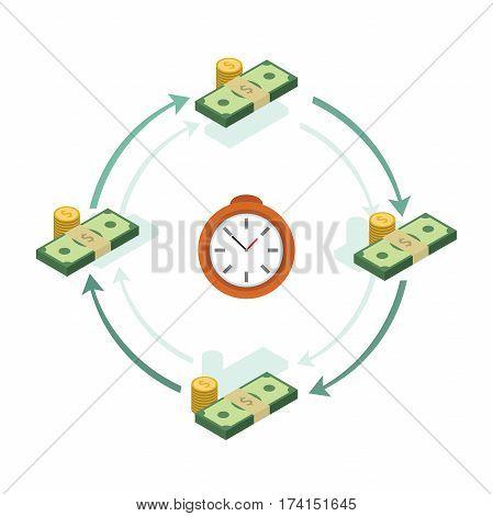 Money turnover. Profit illustration. Element for your business presentation. Vector eps 10