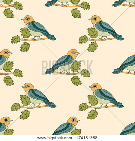 Vector seamless pattern. A tit on a branch. Romantic spring vector illustration with the titmouse.