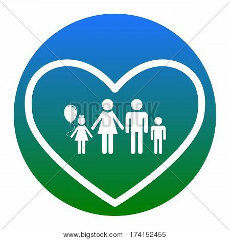 Family sign illustration in heart shape. Vector. White icon in bluish circle on white background. Isolated.