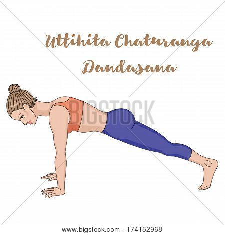 Women silhouette. High plank yoga pose. Uttihita Chaturanga Dandasana. Vector illustration