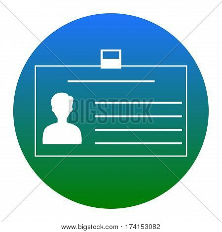 Identification card sign. Vector. White icon in bluish circle on white background. Isolated.