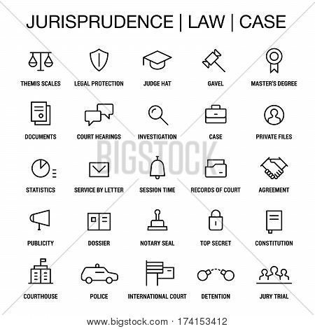 Jurisprudence. Law. Case. Icons set. Thin lines. Black on white.