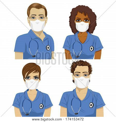 Medical nurse staff team with stethoscopes wearing surgical masks over white background