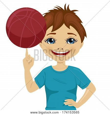 Little boy spinning basketball ball with his finger over white background