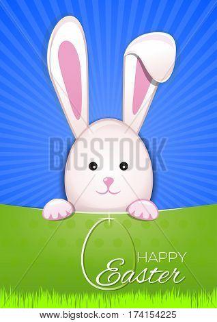 Cute Easter bunny on sky blue background. Egg Hunter. Easter bunny looking out a green background. Happy Easter. Vector illustration