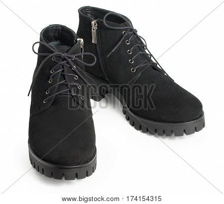 Pair Of Black Womens Suede Winter Boots Isolated On A White Background